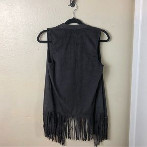 Decree Jackets & Coats - Decree- Boho Faux Suede Vest with Fringe